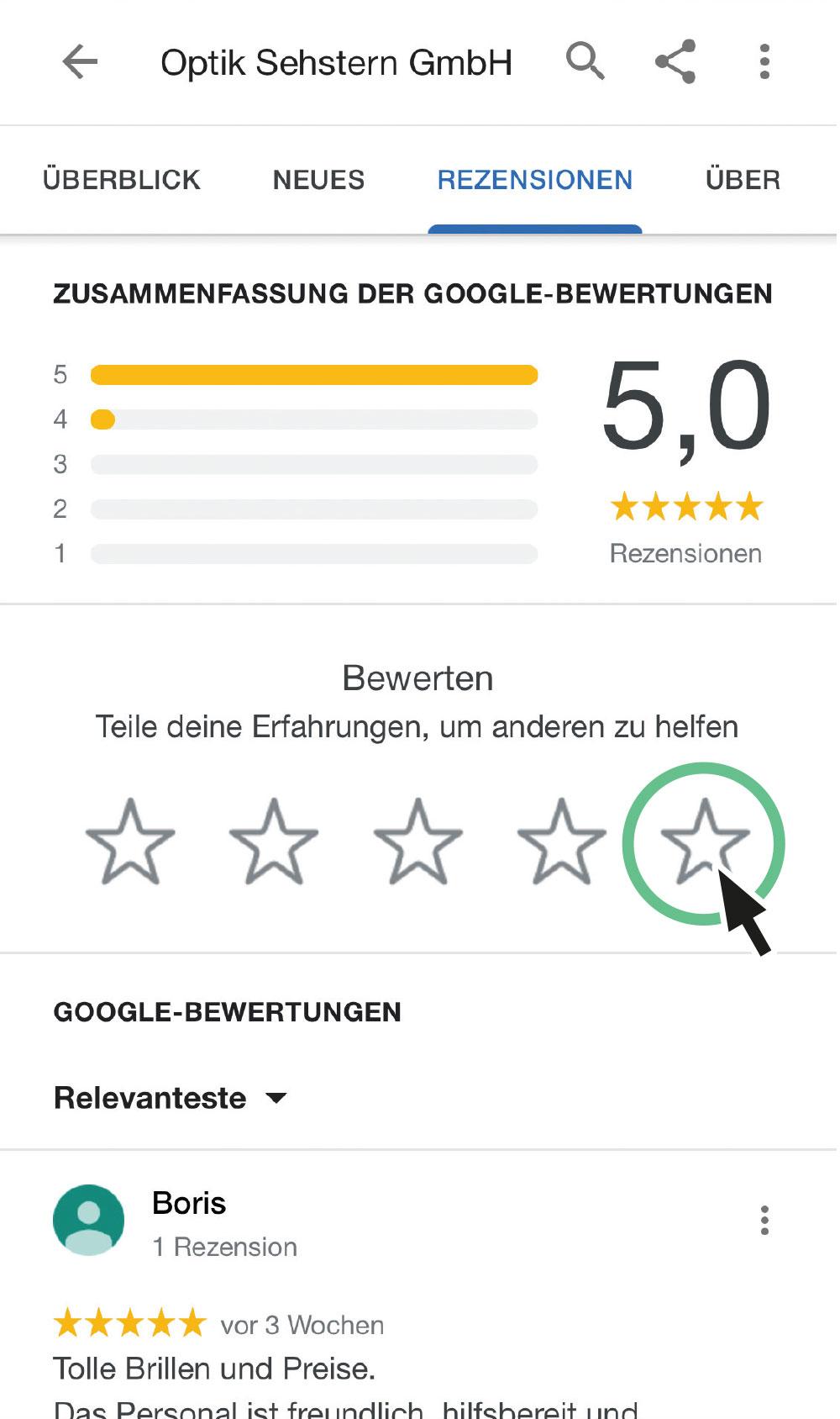 Google Bewertung Screenshot 1
